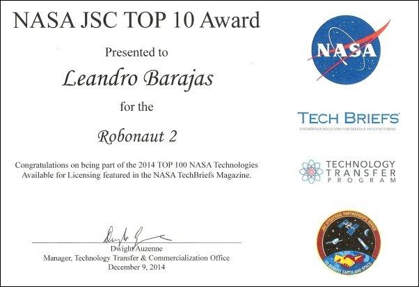 NASA JSC TOP 10 Award - Robonaut 2 - Leandro Barajas - 602 x 412