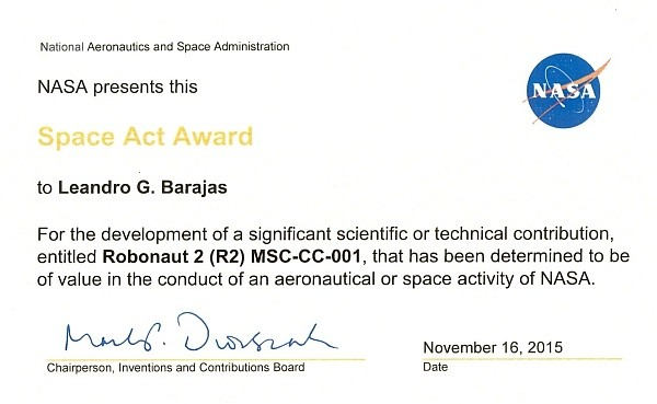 2015 NASA Space Act Award - Dr..Barajas 600 RG